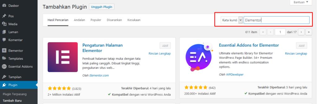 Install Elementor di WordPress