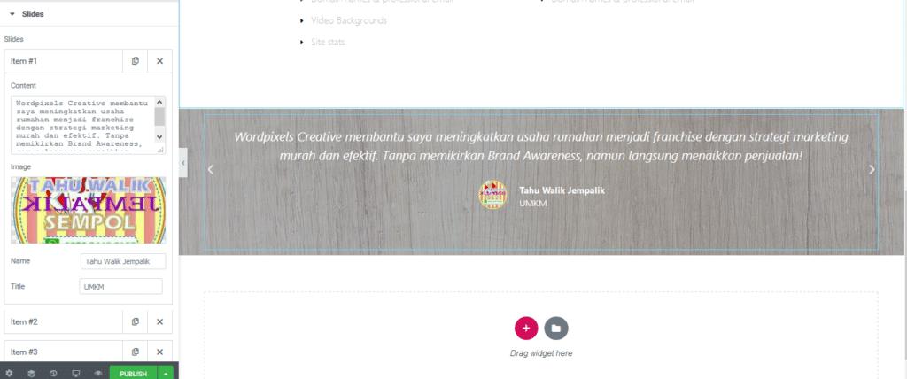 Contoh Halaman Depan Website dengan Elementor Carousel