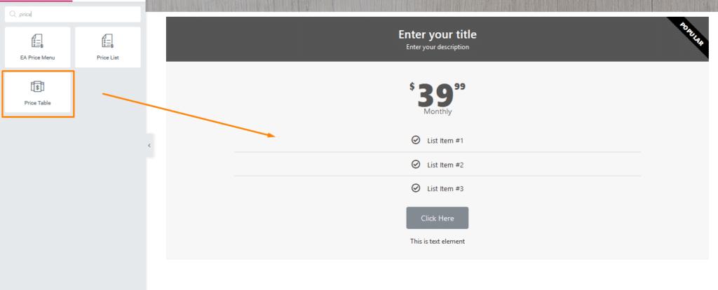 Tutorial Elementor Widget Price Table untuk Halaman Depan