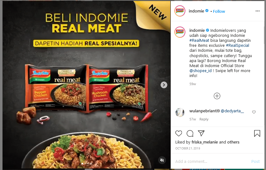 Contoh Copywriting Instagram Indomie