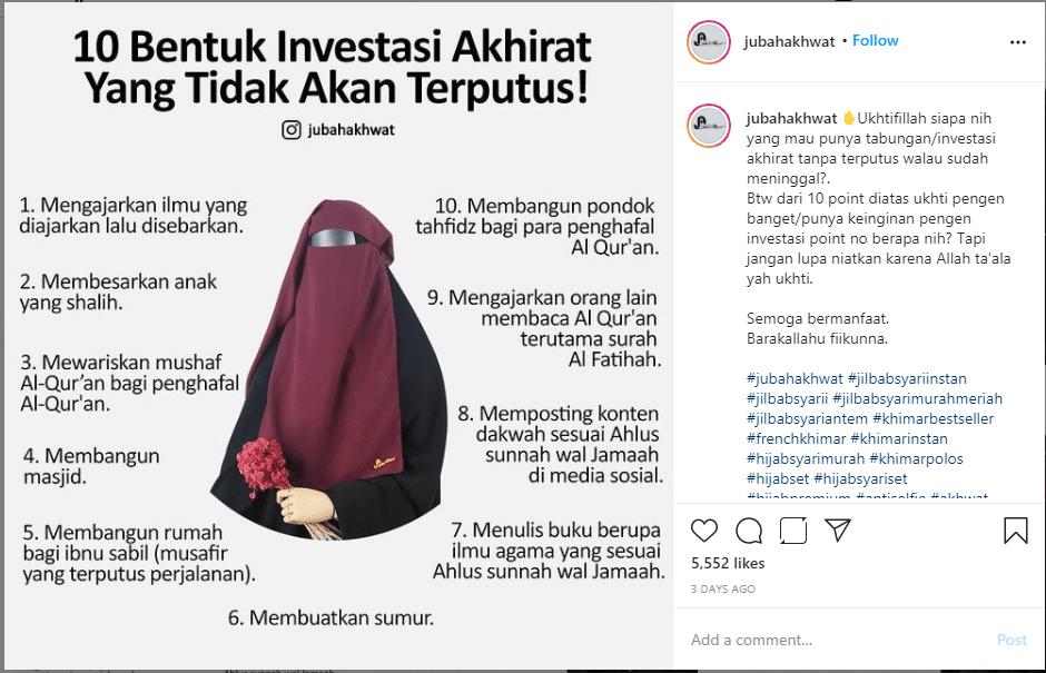 Contoh Copywriting Instagram Jubah Akhwat