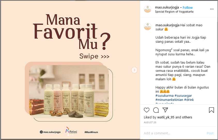 Contoh Copywriting Instagram Minuman